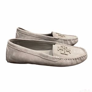 Tory Burch French Gray Suede Lowell 2 Moccasins